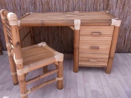 Bambus-Schreibtisch + Stuhl