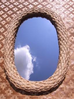 Wandspiegel aus Wasserhyazinthe oval